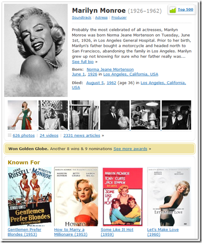 go to IMDb for Marilyn Monroe